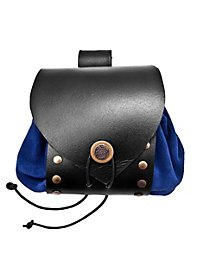 Riveted Leather Belt Pouch blue