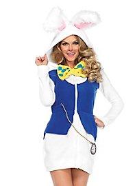 Robe à capuche lapin blanc