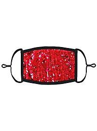 Rot-silber Wendepailletten Mund-Nasen-Maske