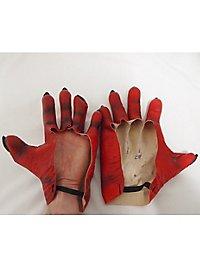 Rote Monsterhände aus Latex