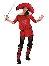 Rote Piratin Strass Kostüm