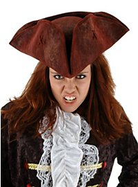 Rustic Tricorne Hat deep red