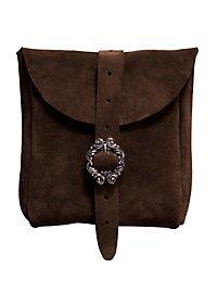 Sacoche de ceinture en daim marron foncé