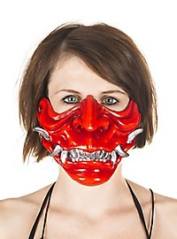 Samurai mask made of synthetic resin red