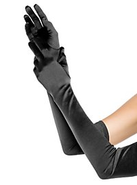 Satin Gloves extra long black