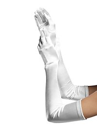 Satin Gloves extra long white