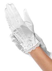 Satin gloves for children white