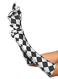 Satin gloves long Harlequin