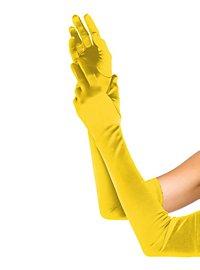 Satin Handschuhe extra lang gelb