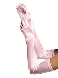 Satin Handschuhe extra lang rosa