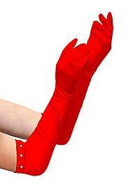 Satin Handschuhe extra lang rot für Kinder
