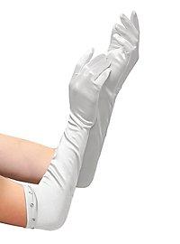 Satin Handschuhe extra lang weiß für Kinder