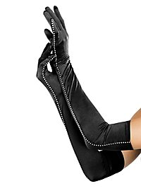 Satin Opera Gloves with Rhinestones black