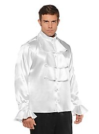 Satin shirt with jabot white