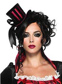 Satin Top Hat black-red
