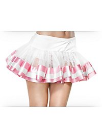 Satin Trimmed Petticoat pink & white