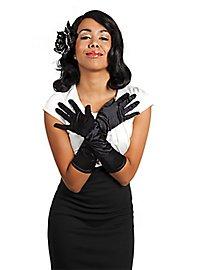 Satinhandschuhe lang schwarz