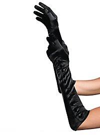 Satinhandschuhe mit Knopfleiste schwarz