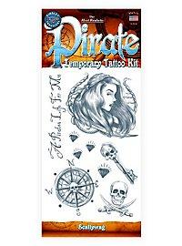 Scallywag Pirate Temporary Tattoo Kit