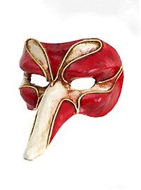 Scaramouche piccolo rosso bianco  Venezianische Miniaturmaske