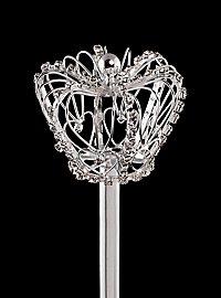 Sceptre couronne de strass argenté