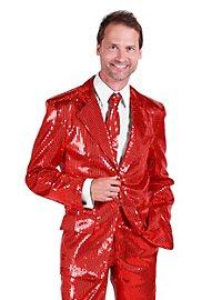 Schlagersänger Pailletten Anzug rot Kostüm