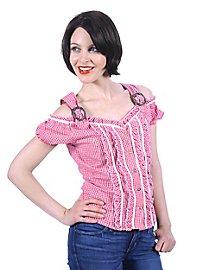 Schulterfreie Damenbluse Bayern pink-weiß
