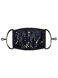 Schwarz-silber Wendepailletten Mund-Nasen-Maske