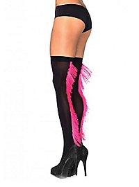 Schwarze Strümpfe mit pinkfarbenen Fransen