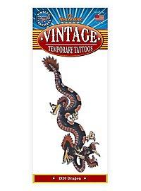 Schwarzer Drache Vintage Klebe-Tattoo