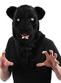Schwarzer Panther Maske mit beweglichem Mund