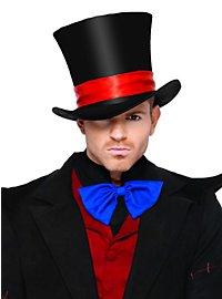 Schwarzer Zylinder mit rotem Hutband