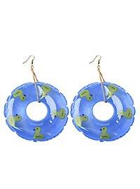 Schwimmreifen Ohrringe blau