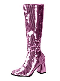 Sequin GoGo Boots pink