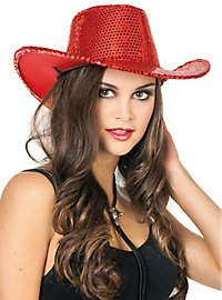 Sequined cowboy hat red