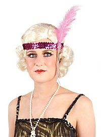 Sequined Flapper Headband hot pink