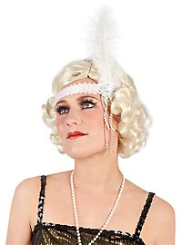 Sequined Flapper Headband white