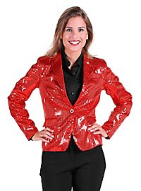 Sequined jacket for ladies red