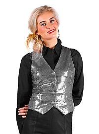 Sequined ladies vest silver