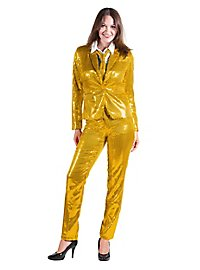 Sequined suit for ladies gold