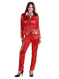 Sequined suit for ladies red