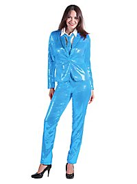 Sequined suit for ladies turquoise