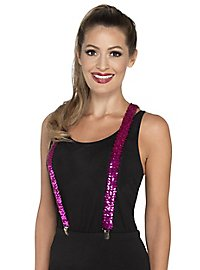 Sequined suspenders pink