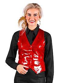 Sequins Ladies Waistcoat red