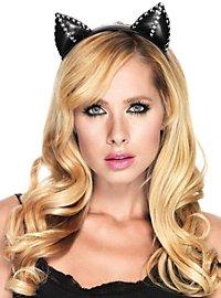 Serre-tête oreilles de chat en cuir