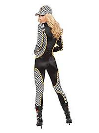 Sexy Rennfahrerin schwarz-weiß Kostüm