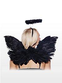 Sexy Schwarzer Engel Accessoire Set