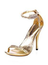 Sexy Strass Sandaletten gold