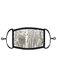 Silber-schwarz Wendepailletten Mund-Nasen-Maske