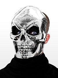 Silberschädel Halbmaske aus Kunststoff